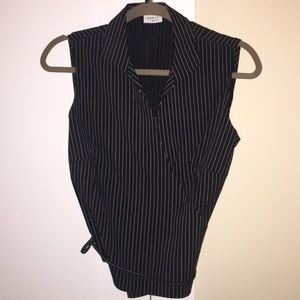 Akris Punto striped, sleeveless shirt w/ waist tie